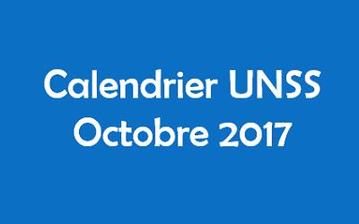Calendrier UNSS novembre 2017