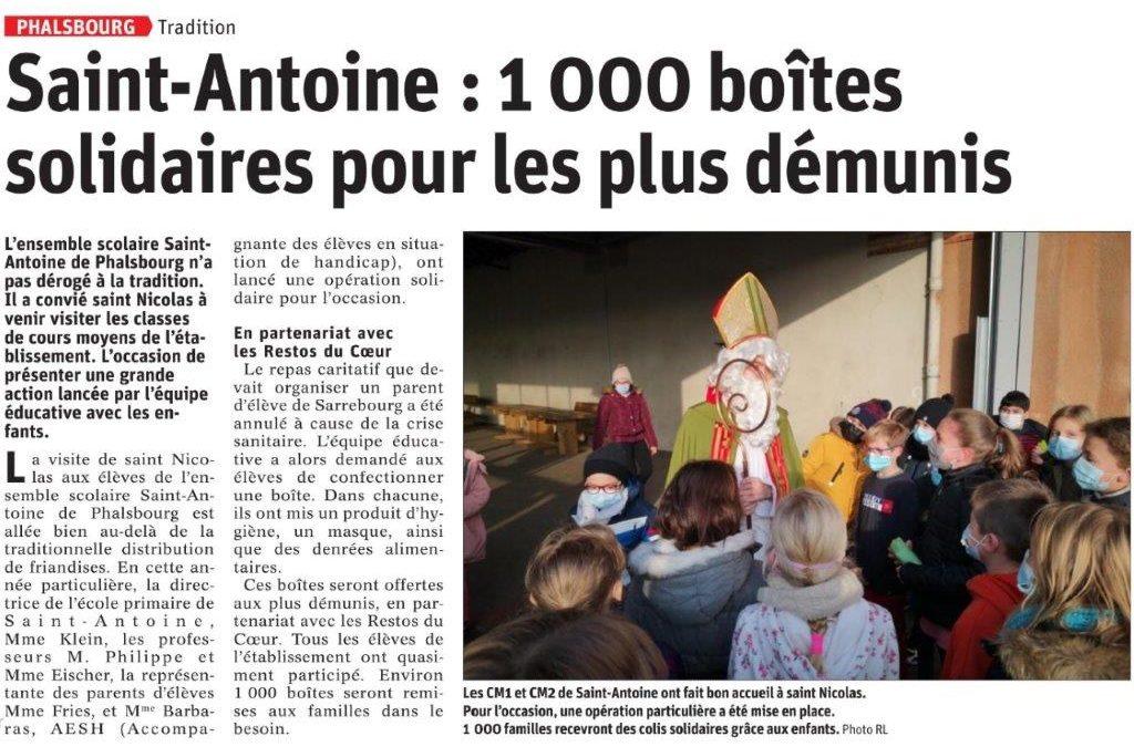 Article: Saint Nicolas à l'ensemble scolaire Saint-Antoine de Phalsbourg 1000 boites solidaires pour les plus démunis 08/12/20