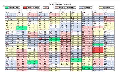 Calendrier de l'option théâtre 2016-2017